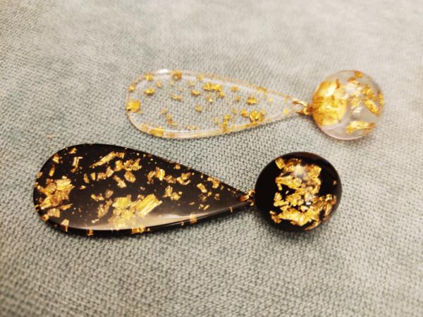 Pendientes resina pan de oro